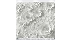 Image of a 8' 8' White Paper Floral Print Spandex Backdrops