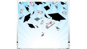 Image of a 8' 8' Caps & Diplomas Spandex Backdrops