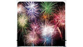 Image of a 8' 8' Fireworks Spandex Backdrops