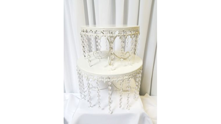 Picture of a 2pc Set Fleur de lis w/Crystal Cake Stand