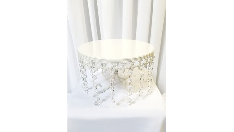 """Picture of a 10"""" White Fleur de lis w/Crystal Cake Stand"""