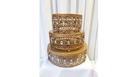 Image of a 3 Pcs Gold Cake Stand w/Diamonds