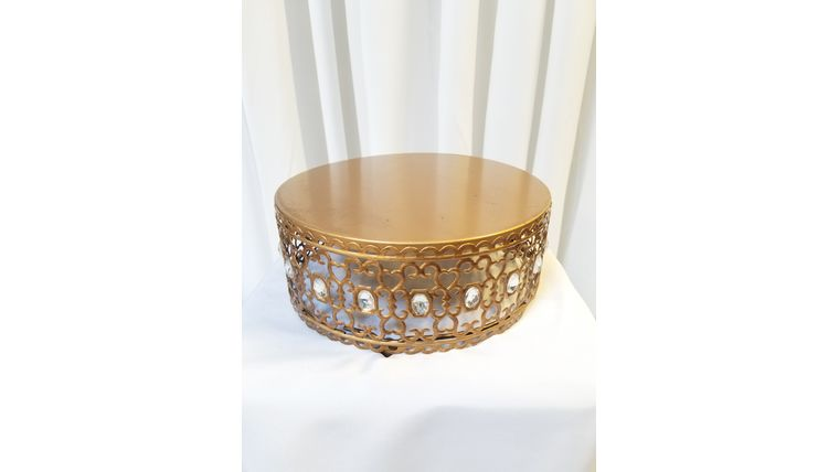 """Picture of a 10"""" Gold Cake Stand w/Diamonds"""