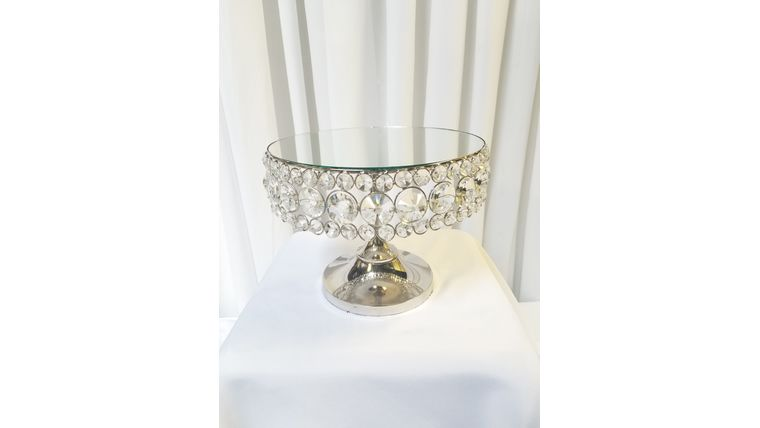 """Picture of a 10""""  Round Silver Bejeweled Crystal Cake Stand"""