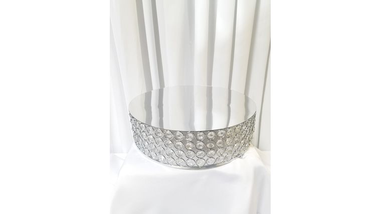 """Picture of a 14""""  Round Silver Bejeweled Crystal Cake Stand"""