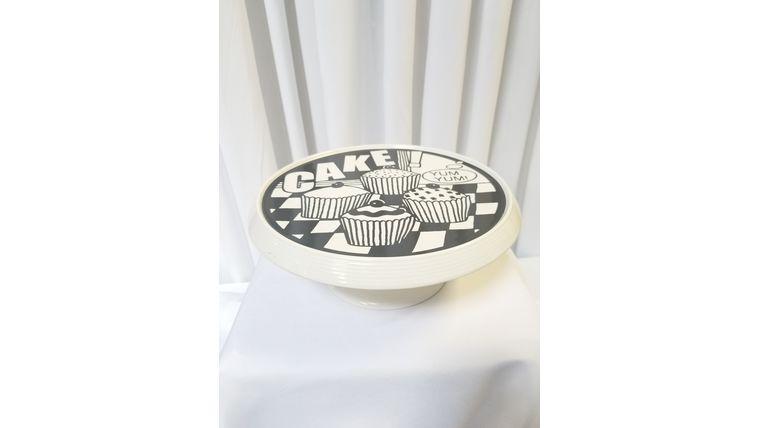 """Picture of a 10"""" Black & White Ceramic w/CAKE print"""