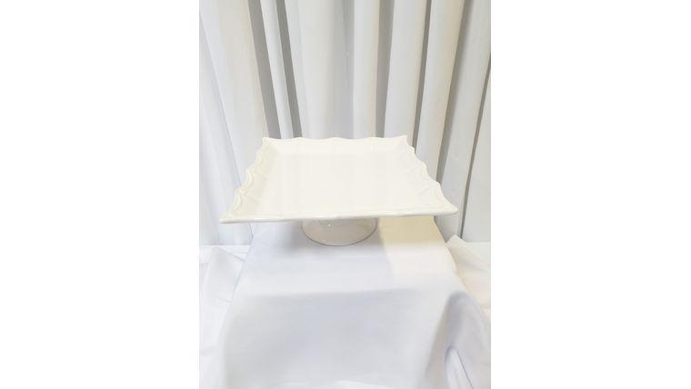 Picture of a 12'' Square White Scalloped Edge