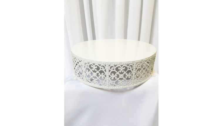 """Picture of a 12"""" White Lace Patterned Cake Stand"""