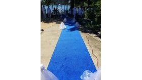 Image of a 4' 25' Royal Blue Carpet Runner