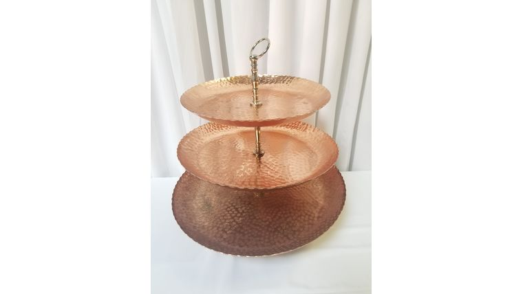 Picture of a 3 Layer Rose Gold Hammered Dessert Stand