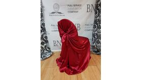 Image of a Apple Red Satin Universal Chair Covers