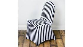 Image of a Black & White Striped Spandex Chair Covers