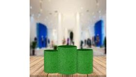 Image of a Green Grass Cylinder Covers Utility Pedestal Covinted Fabric Pedestal Cover