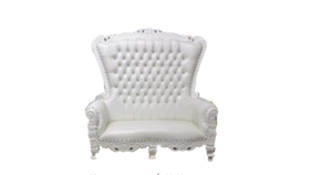 Image of a White and Ivory Settee Throne
