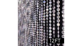Image of a 12' Jewel Crystal Iridescent Diamond Cut Curtain