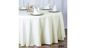 """Image of a 132"""" Round Linen - White"""