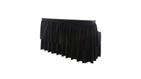 Image of a 6 Ft Beverage Bar - Table Riser, Table, and Black Skirting