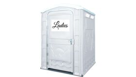 Image of a Deluxe XL Portable Restroom - Wedding Ladies & Gents w/ Sanitizer