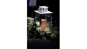 Image of a Lantern with Battery Operated Candle White