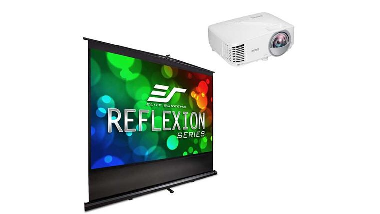 "Picture of a 90"" Fast Fold Screen With Short Throw Projector"
