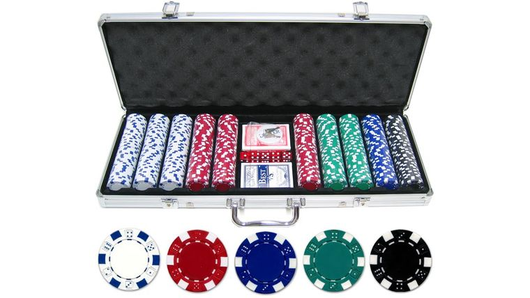 Picture of a 500 piece 11.5g Dice Poker Chip Set
