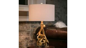 Image of a A4- Lamp, Gold Antlers with Acrylic Base