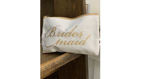 Image of a Bridesmaid Cosmetic Bag-White and Gold