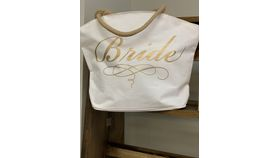Image of a Bride Arch Top Tote-White and Gold