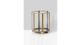 Image of a 5in Gold Hexagon Glass Tea Light Holder