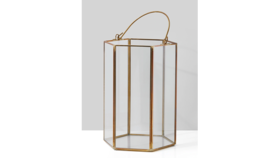 Image of a 8in Gold Hexagon Lantern
