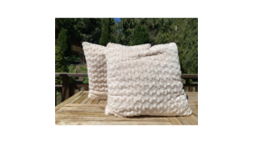 Image of a Cream Textured Pillow