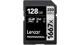 Image of a Lexar Professional 1667X 128GB SD Card