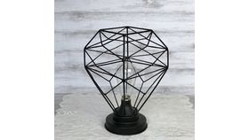 Image of a Black Iron Geometric Lamp