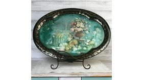 Image of a Turquoise & Floral Serving Platter/ Display
