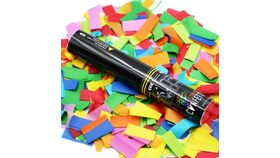 "Image of a 11"" Multicolor Metallic Confetti Single Use Cannon Purchase"