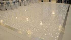 Image of a Gloss White LED Star Vinyl Dance Floor Section - 4' x 4'