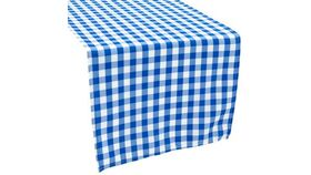 """Image of a 1/2"""" Gingham Checkered Polyester 20"""" x 20"""" Napkin Linen - Blue & White"""