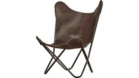 Image of a Accent Chair - Butterfly Leather Chair - Brown