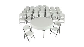 """Image of a (4) 60"""" Round Commercial Grade Folding Tables and (32) Folding Chairs"""