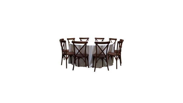 Picture of a 1 Banquet Round Table with 10 Mahogany Cross-Back Chairs Package