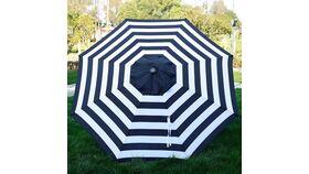Image of a 9' Market Umbrella - Aluminum Frame w/Push Button Tilt & Crank - Black & White