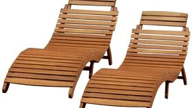 Image of a Lahaina Wood Outdoor Chaise Lounge - Natural Yellow
