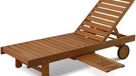 Image of a Outdoor Hardwood Patio Furniture Sun Lounger with Tray in Teak Oil, Natural