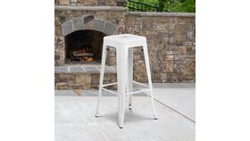 """Image of a 30"""" High Backless White Metal Indoor-Outdoor Barstool with Square Seat"""