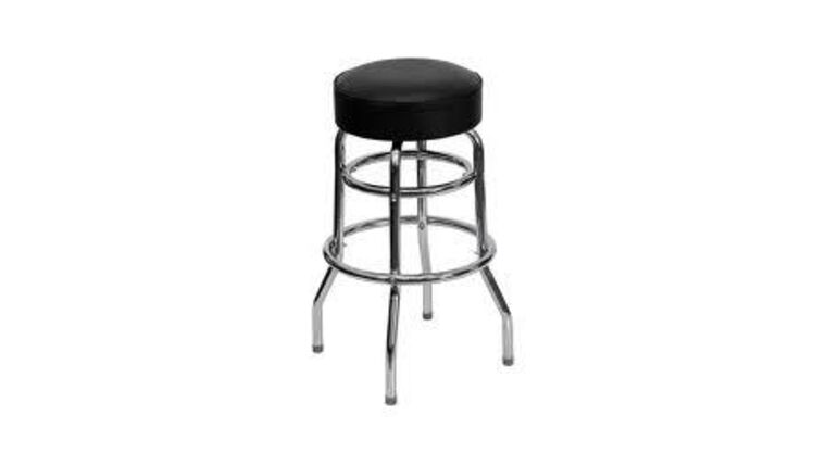 Picture of a Black & Chrome Metal Bar Stool With Padded Seat Rental