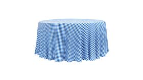 """Image of a 1/2"""" Gingham Checkered Polyester 120"""" Round Tablecloth - Blue & White"""