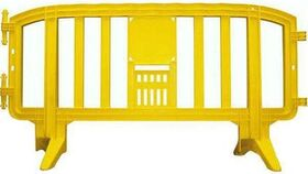 Image of a 6.5 Ft. Yellow Movit Interlocking Plastic Crowd Barricade Rental