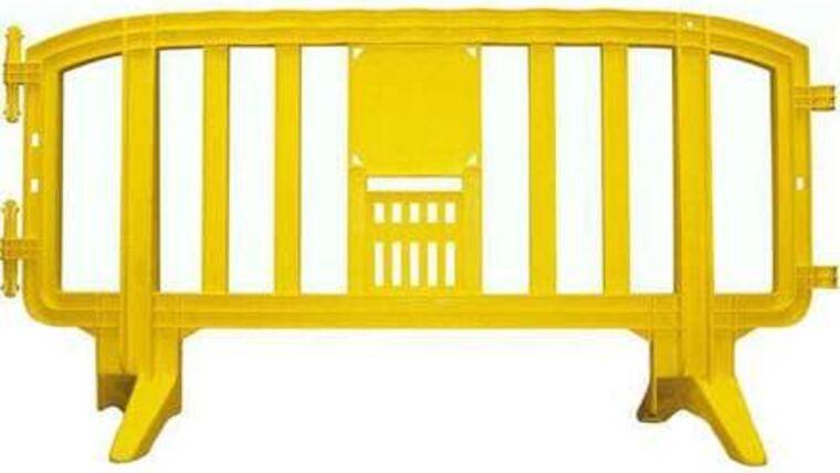Picture of a 6.5 Ft. Yellow Movit Interlocking Plastic Crowd Barricade Rental