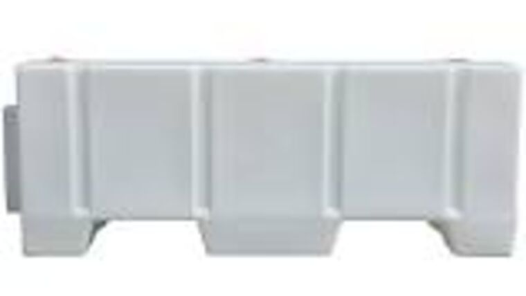 Picture of a 8' White Plastic Water Filled Jersey Crowd Barrier/Barricade Rental