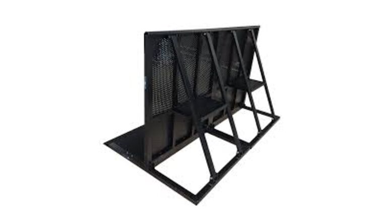 Picture of a 4' Black Metal Blow-Through Concert Crowd Barricade Rental